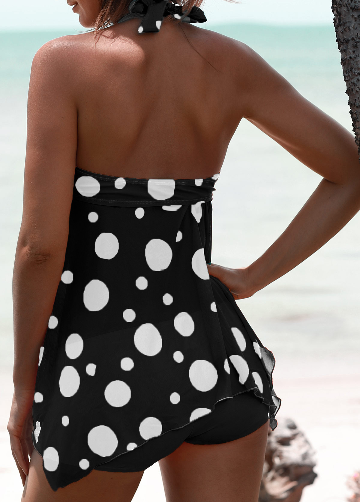 Dot Print Halter Black Swimdress and Shorts