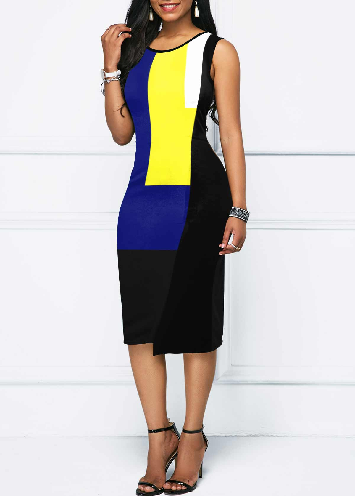 Round Neck Color Block Sleeveless Bodycon Dress
