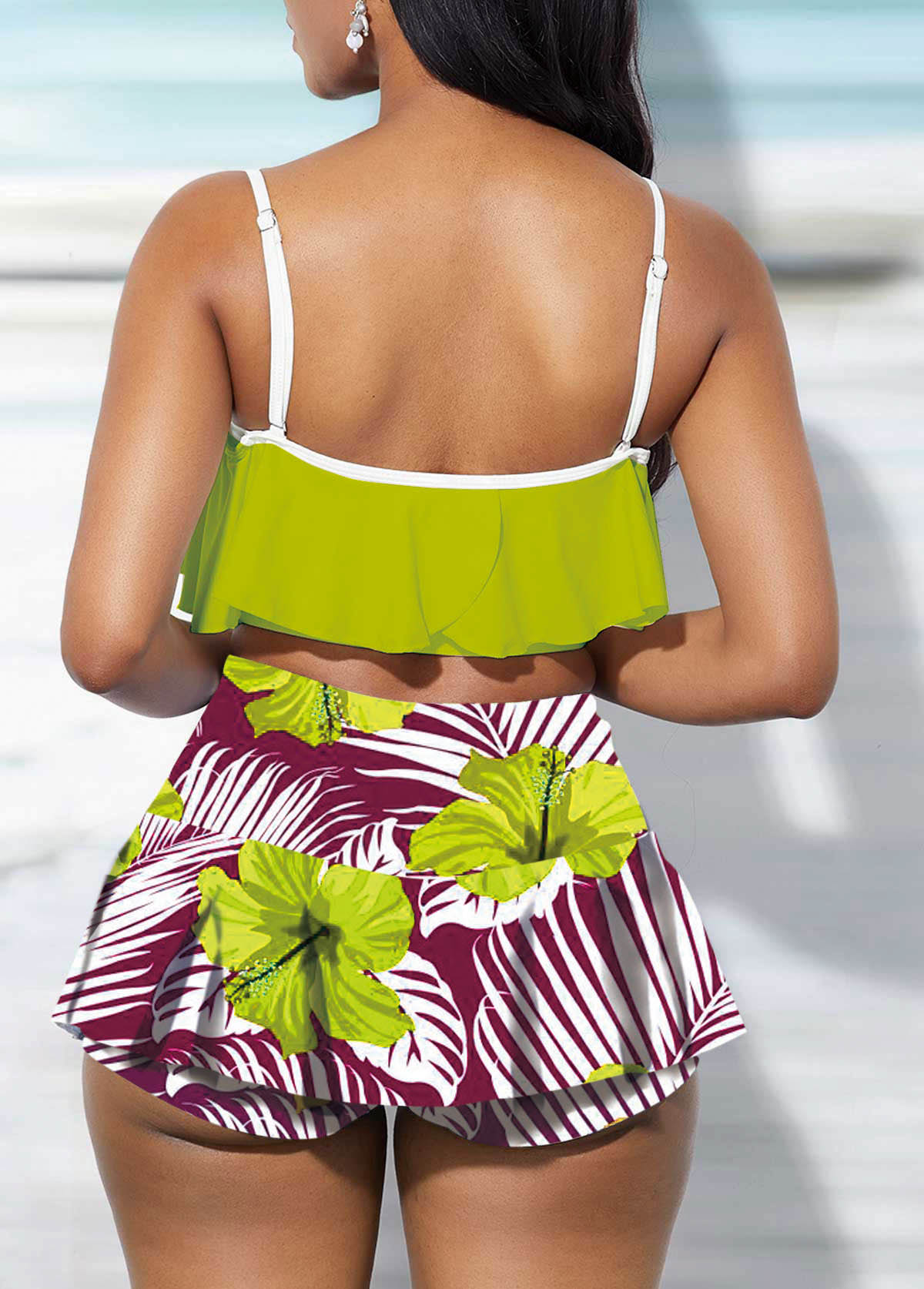 Ruffle Overlay Swimwear Top and Floral Print Pantskirt
