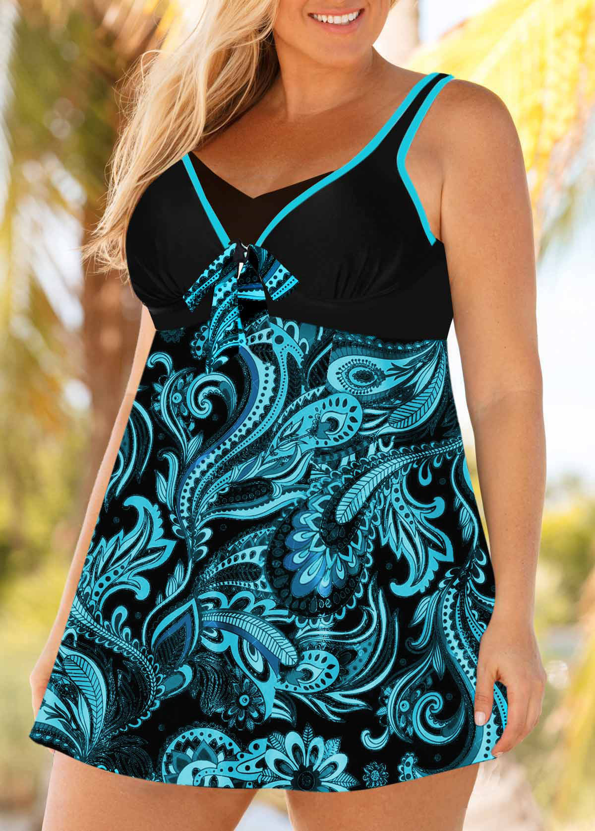 Plus Size Paisley Print Blue Swimdress and Panty