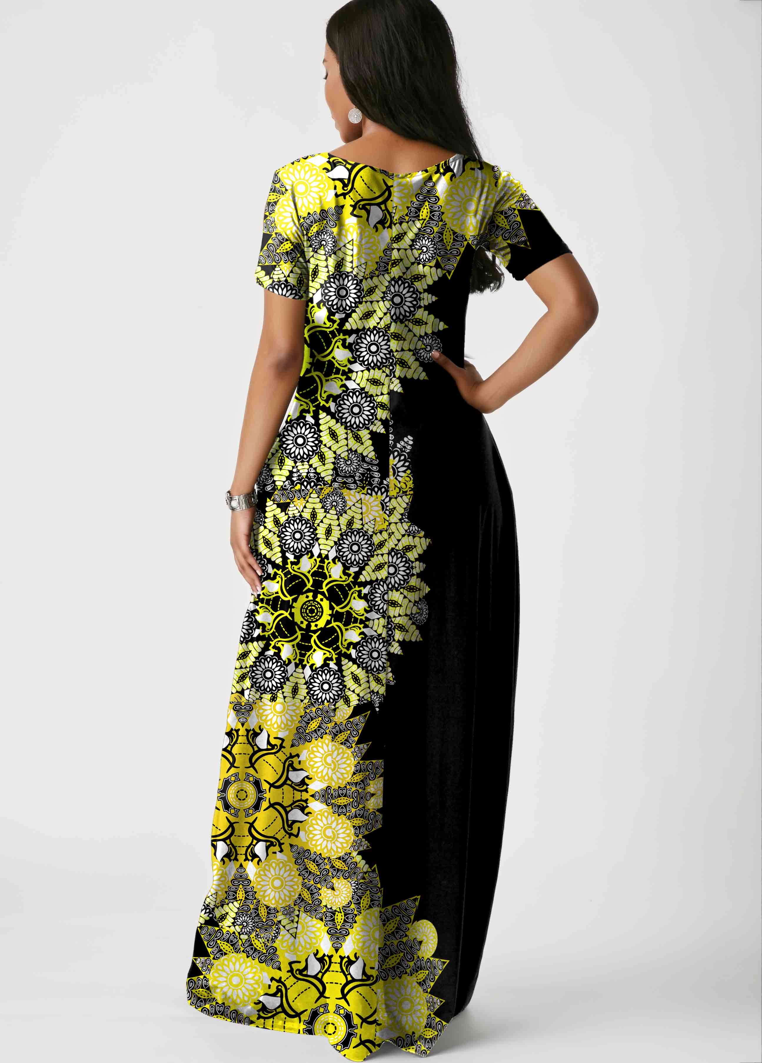 Cross Strap Side Pocket Printed Maxi Dress
