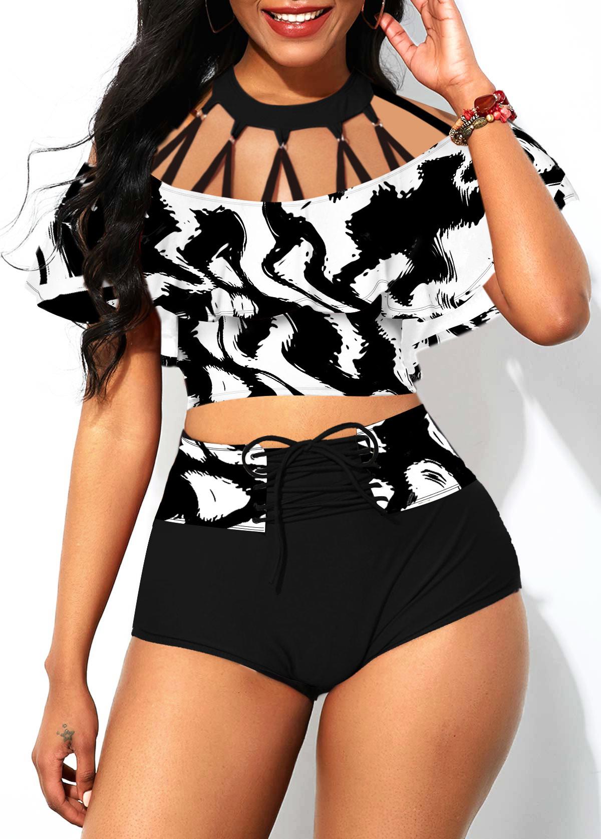 Foldover Front Lace Up Strappy Neck Bikini Set