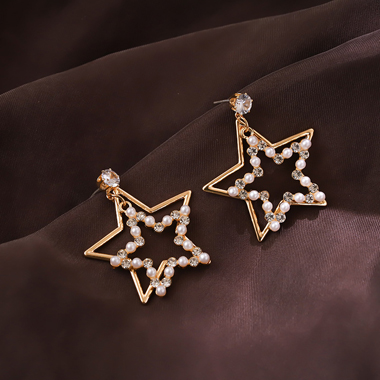 Beads Embellished Gold Metal Star Shape Earring Set