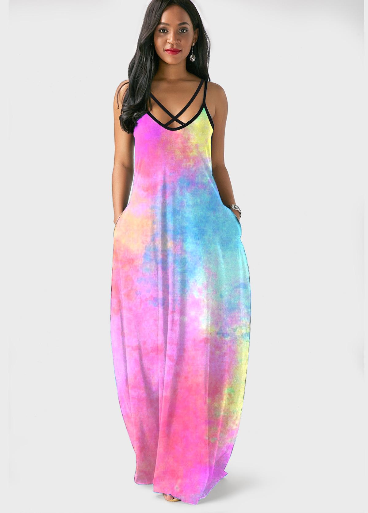 Side Pocket Tie Dye Spaghetti Strap Maxi Dress