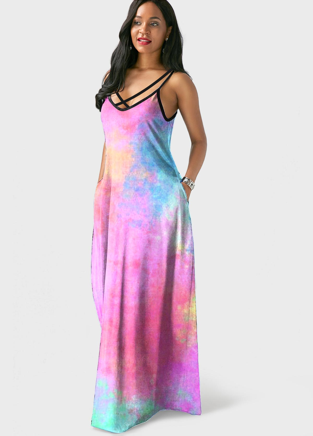 Side Pocket Tie Dye Spaghetti Strap Maxi Dress