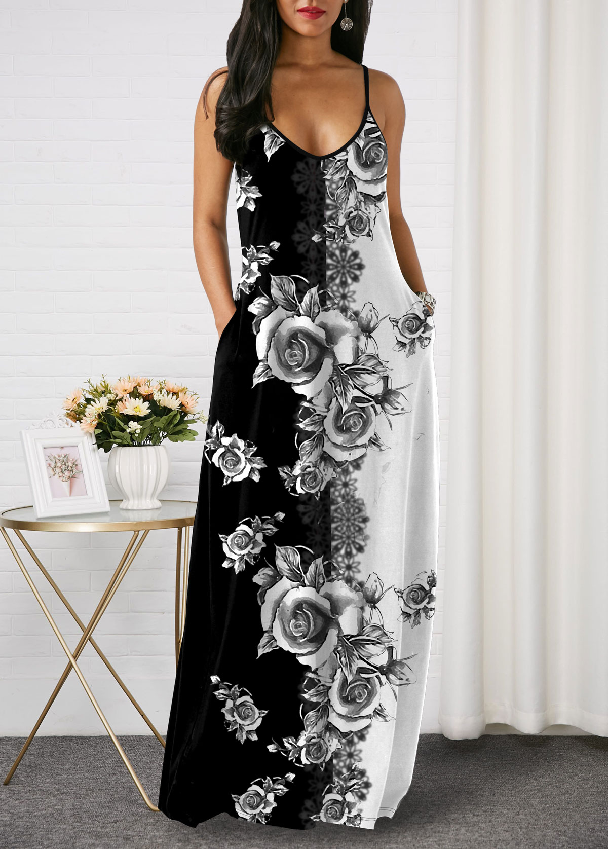 Side Pocket Printed Spaghetti Strap Maxi Dress