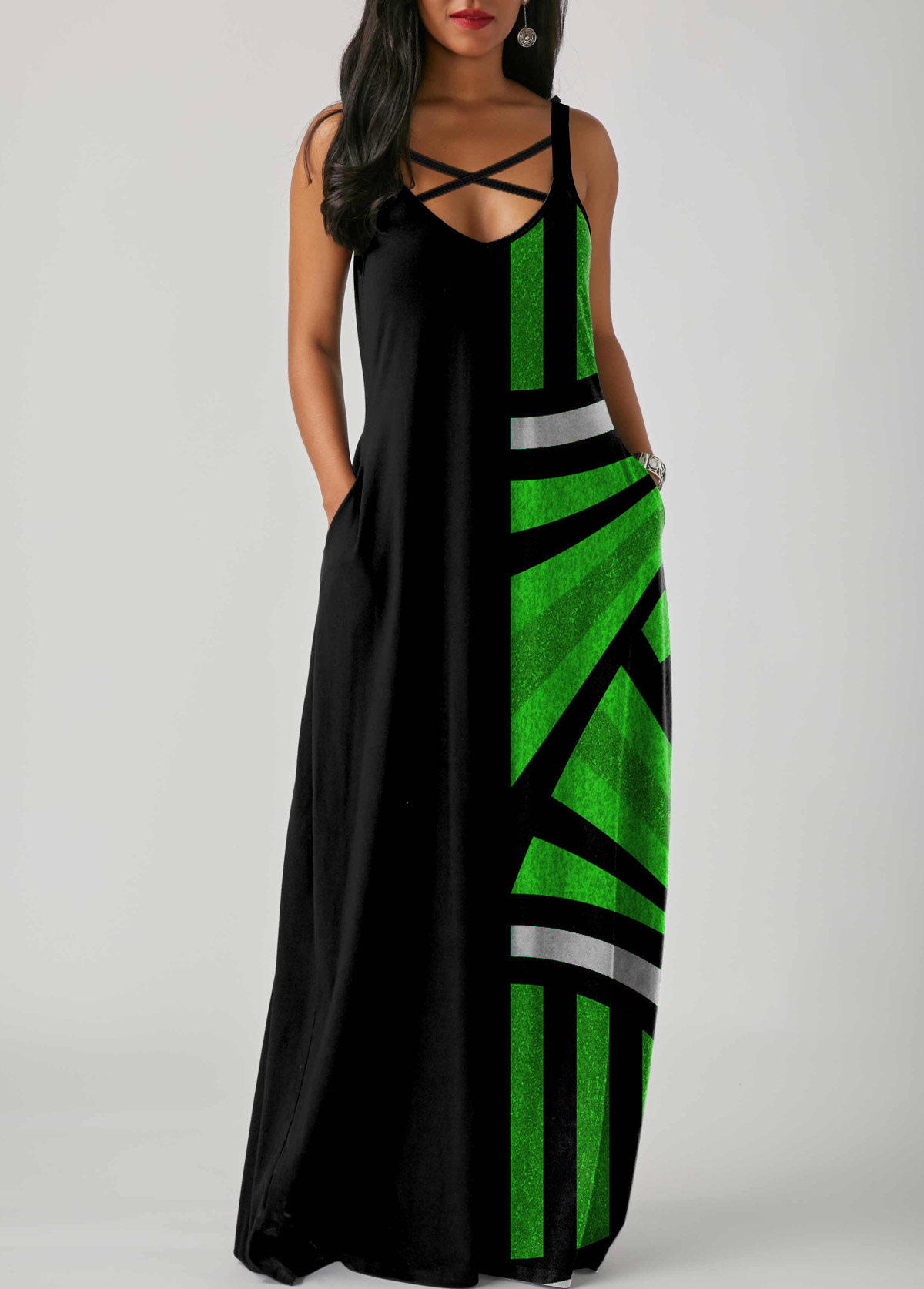 Spaghetti Strap Geometric Print Side Pocket Maxi Dress