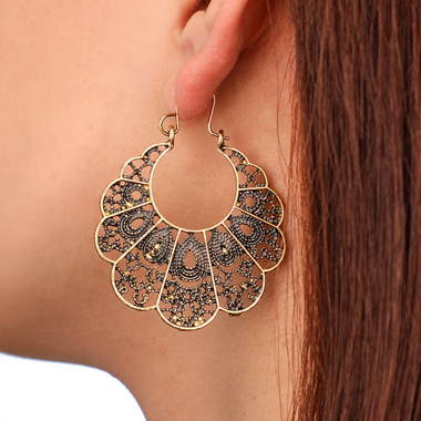 Pierced Gold Metal Curved Earring Set