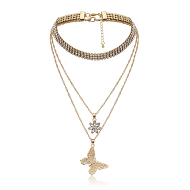 Rhinestone Bowknot Shape Metal Layered Necklace for Lady