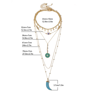 Moon Shaoe Tassel Layered Necklace for Lady