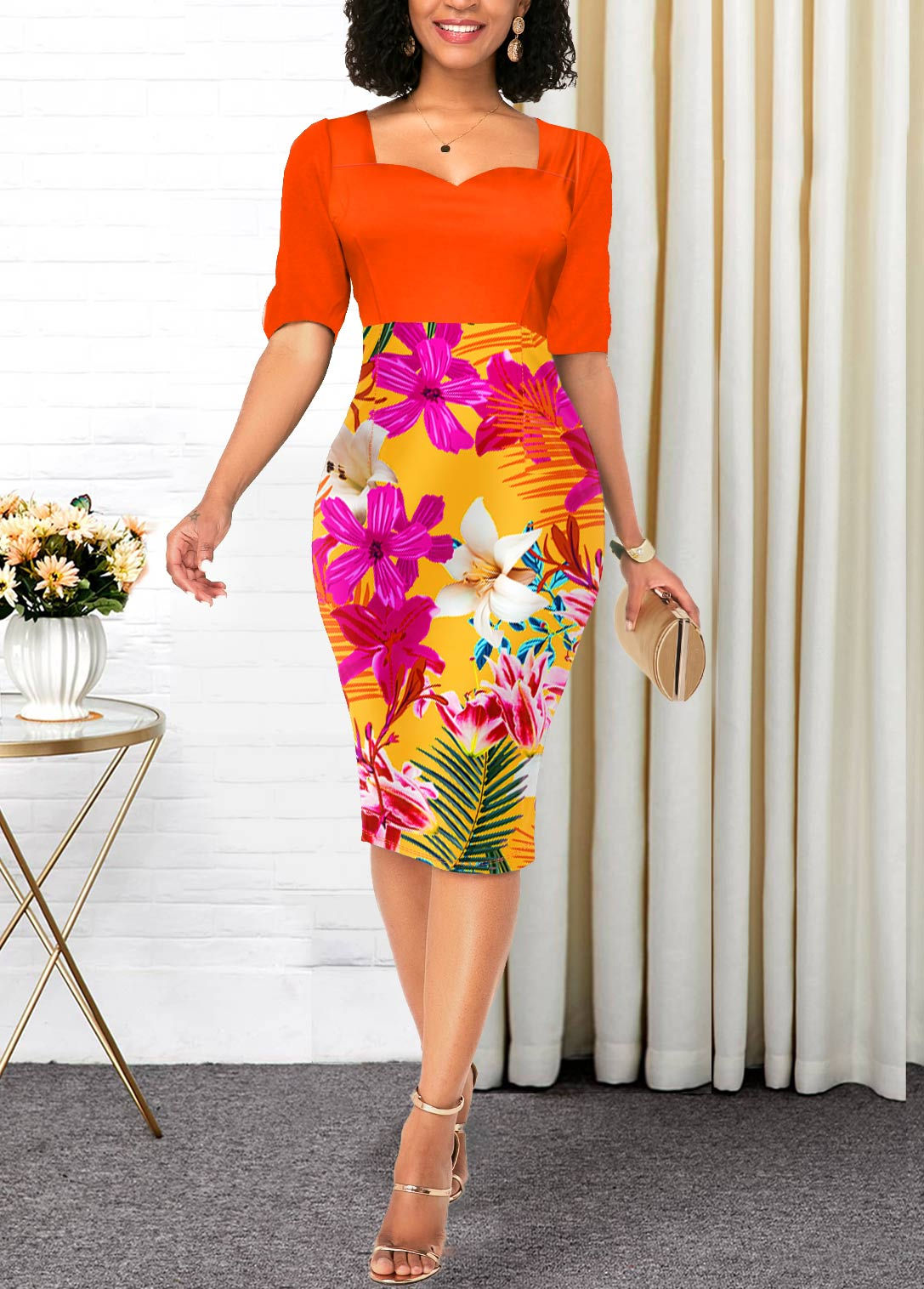 Orange Half Sleeve Floral Print Contrast Dress