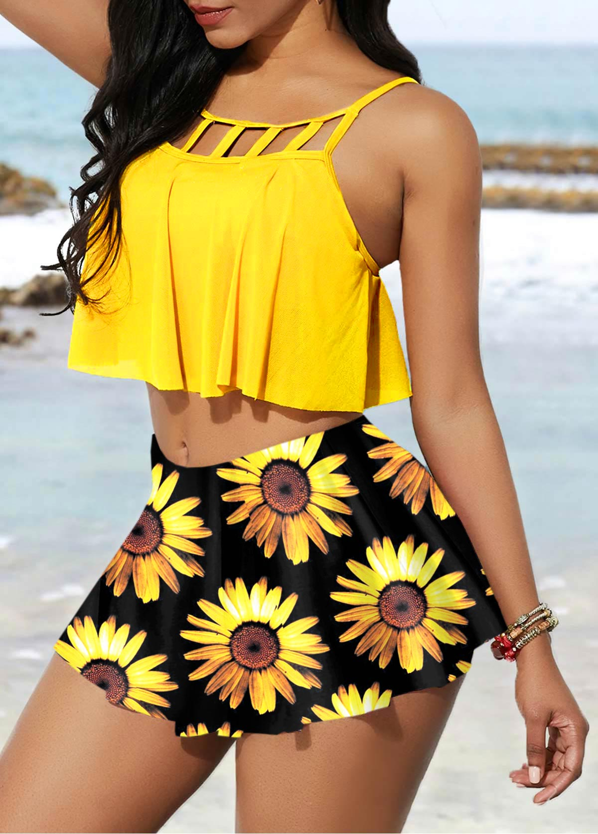 Spaghetti Strap High Waisted Sunflower Print Bikini Set