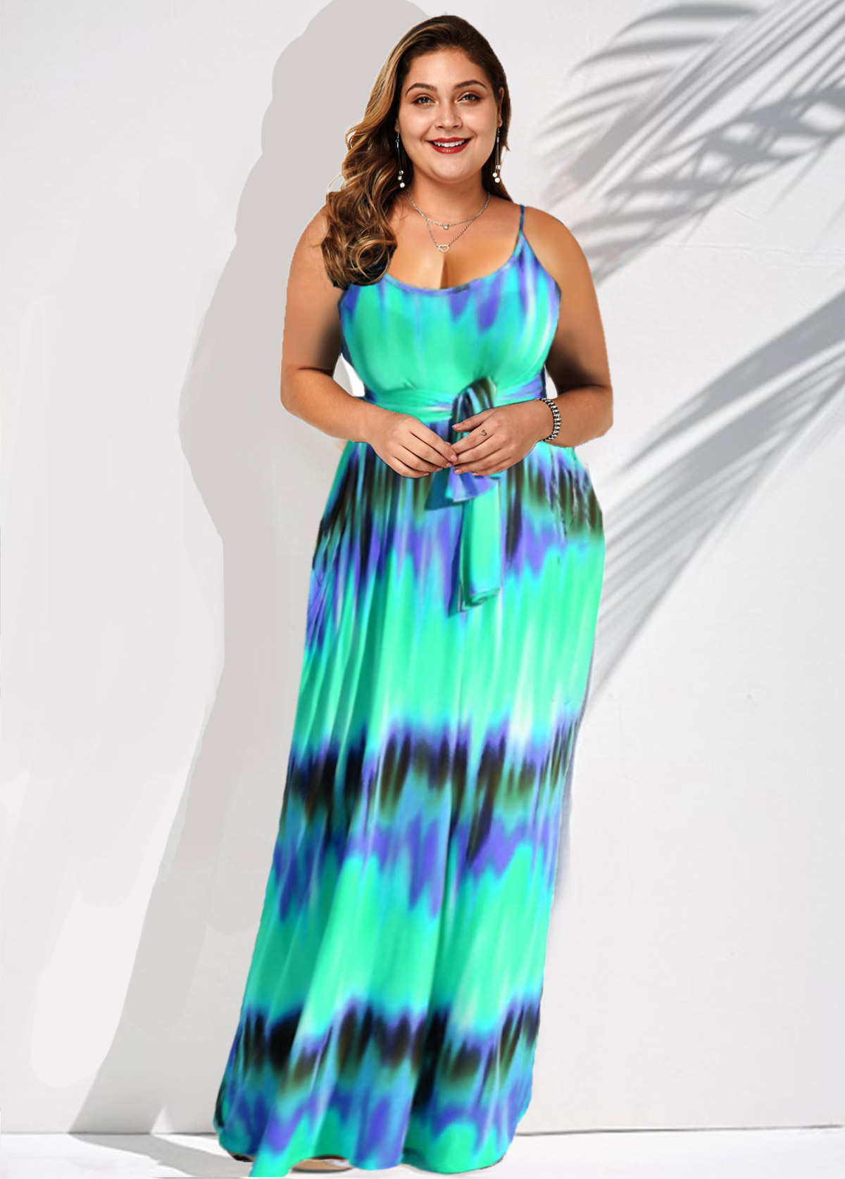Plus Size Spaghetti Strap Stripe Print Belted Dress