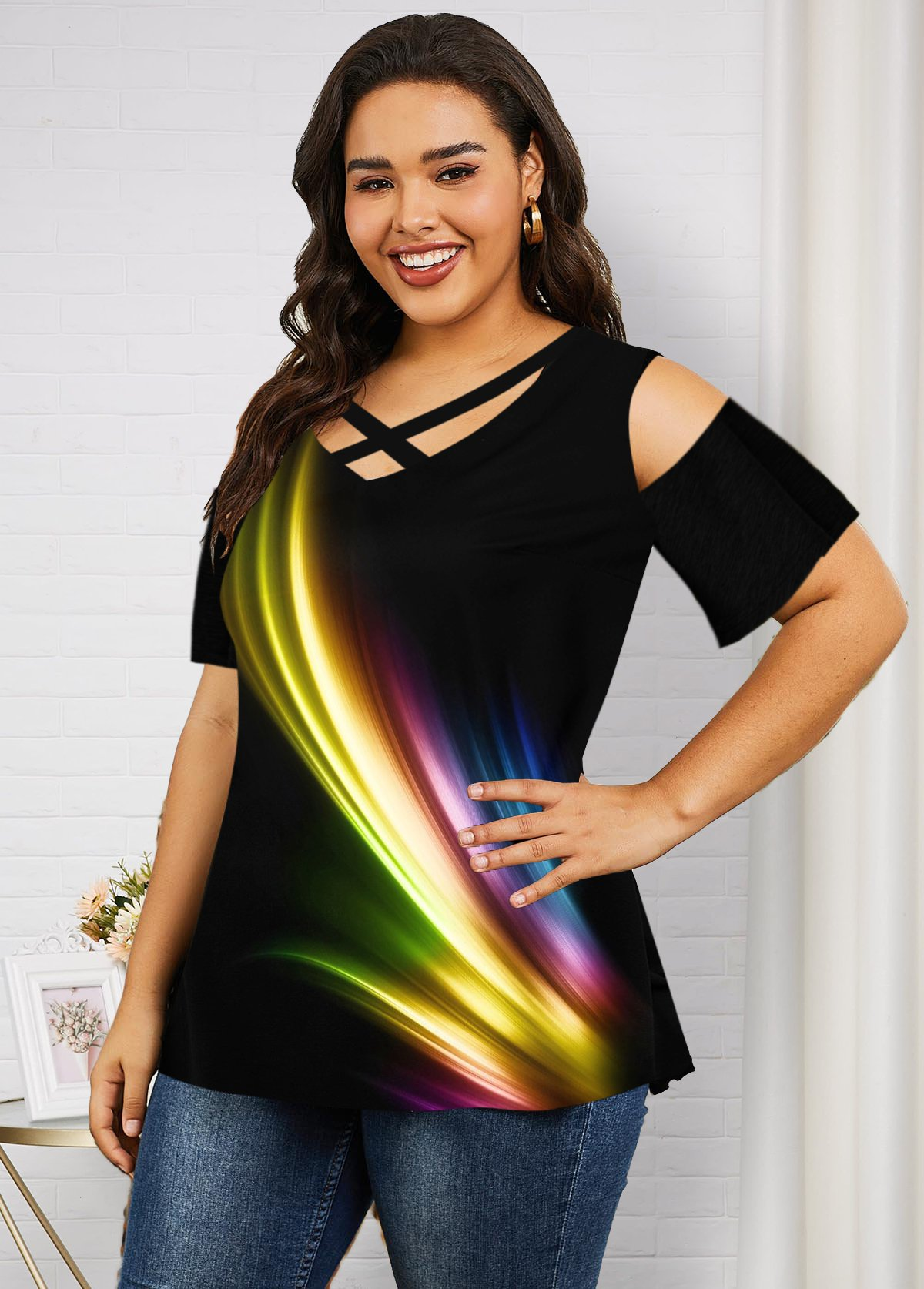 Printed Cold Shoulder Plus Size Rainbow T Shirt