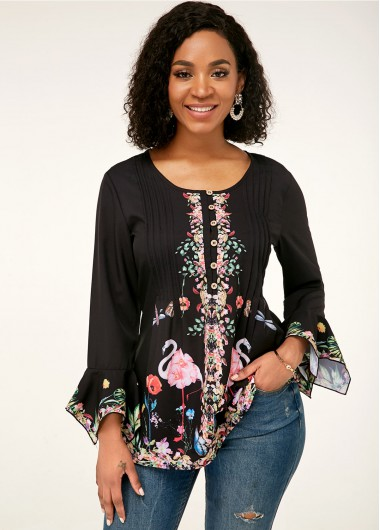 Women'S Black Crinkle Chest Three Quarter Sleeve Tunic Blouse Mexican Print Split Neck Casual Top By Rosewe - L