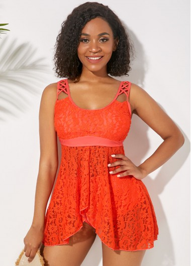 Women'S Orange Asymmetric Hem Lace Panel Lingerie Two Piece Swimdress Bathing Suit Solid Color Two Piece Padded Wire Free Swimsuit By Rosewe - 10