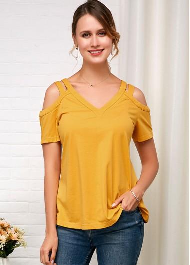 Short Sleeve Cold Shoulder Yellow Soft T Shirt - 10