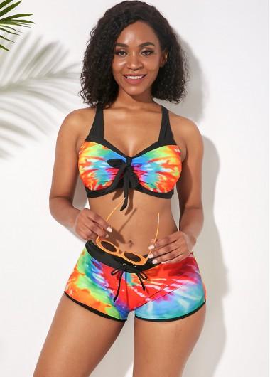 Rosewe Women Rainbow Tie Dye Elastic Waist Padded Wire Free Bikini Swimsuit Multi Color Two Piece Wide Strap Bathing Suit - L