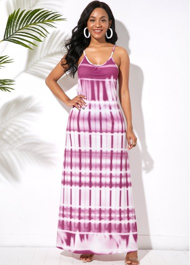 Spaghetti Strap Printed Ladder Cutout Back Maxi Dress