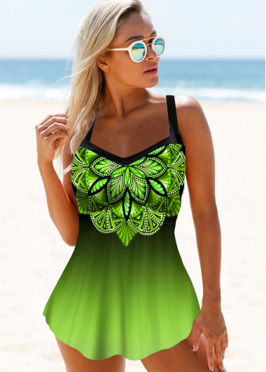Spaghetti Strap Gradient Printed Swimdress and Panty - 10
