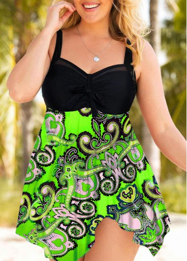 Printed Plus Size Wide Strap Swimdress and Panty - 0X