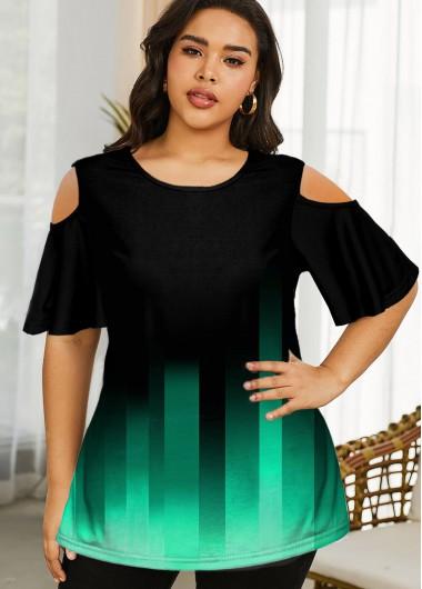 Cold Shoulder Gradient Plus Size T Shirt - 1X
