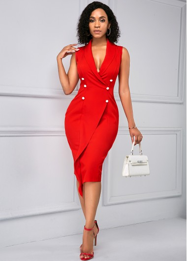 Rosewe Women Red Sleeveless V Neck Button Detail Sheath Work Dress Solid Color Knee Length Elegant Cocktail Party Dress - S