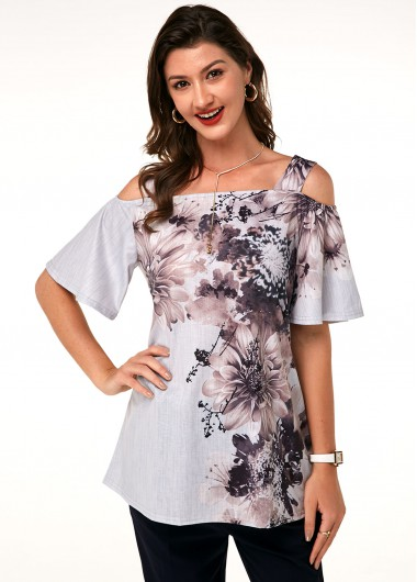 Printed Strappy Cold Shoulder T Shirt - L