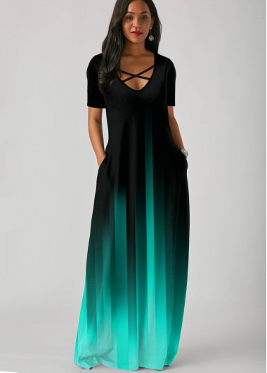 Black Dresses Side Pocket Short Sleeve Gradient Maxi Dress - L