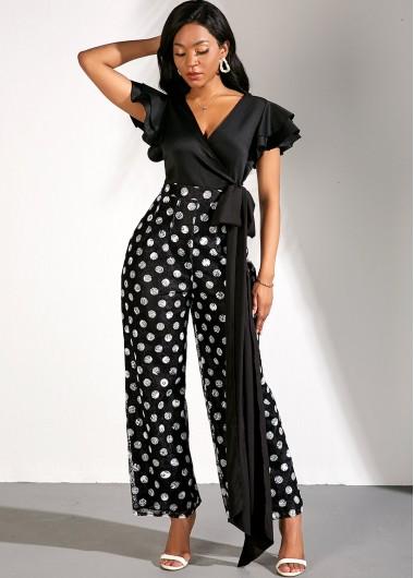 V Neck Flare Sleeve Bowknot Lace Polka Dot Print Jumpsuit