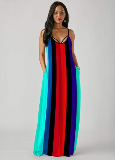 Cocktail Party Dress Multi Color Rainbow Stripe Print Spaghetti Strap Dress - L