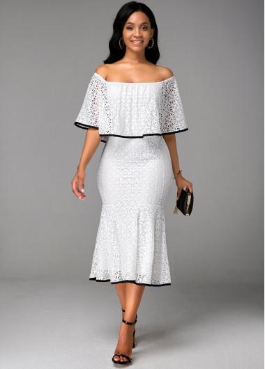 Boat Neck Ruffle Overlay White Lace Dress