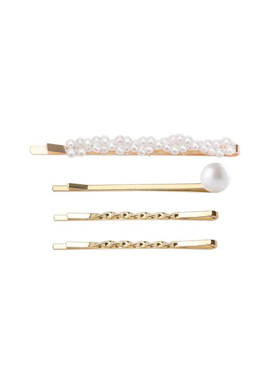Mother's Day Gifts Pearl Embellished Gold 4 Pieces Hairpins - One Size