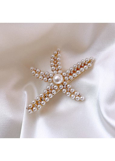 Mother's Day Gifts Pearl Embellished White Star Shape Hairpin - One Size