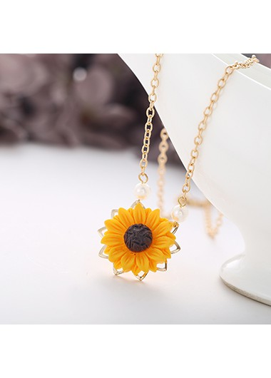 Mother's Day Gifts Sunflower Pendant Metal Chain Gold Necklace - One Size