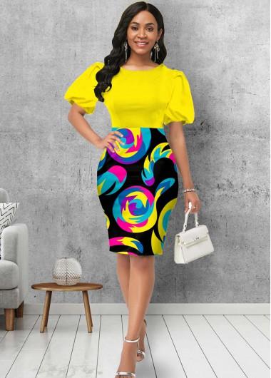 Cocktail Party Dress Round Neck Puff Sleeve Geometric Print Dress - L