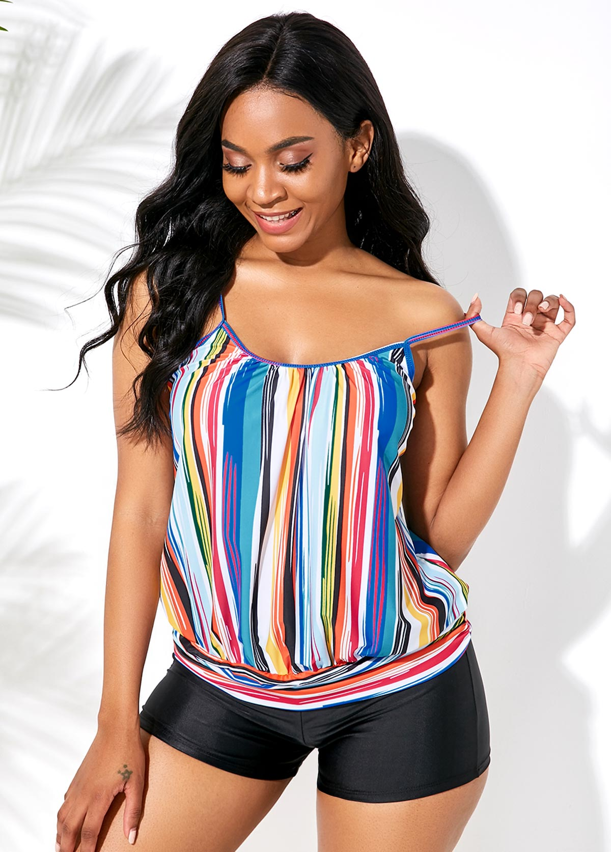 Multi Stripe Blouson Spaghetti Strap Rainbow Color Tankini Set