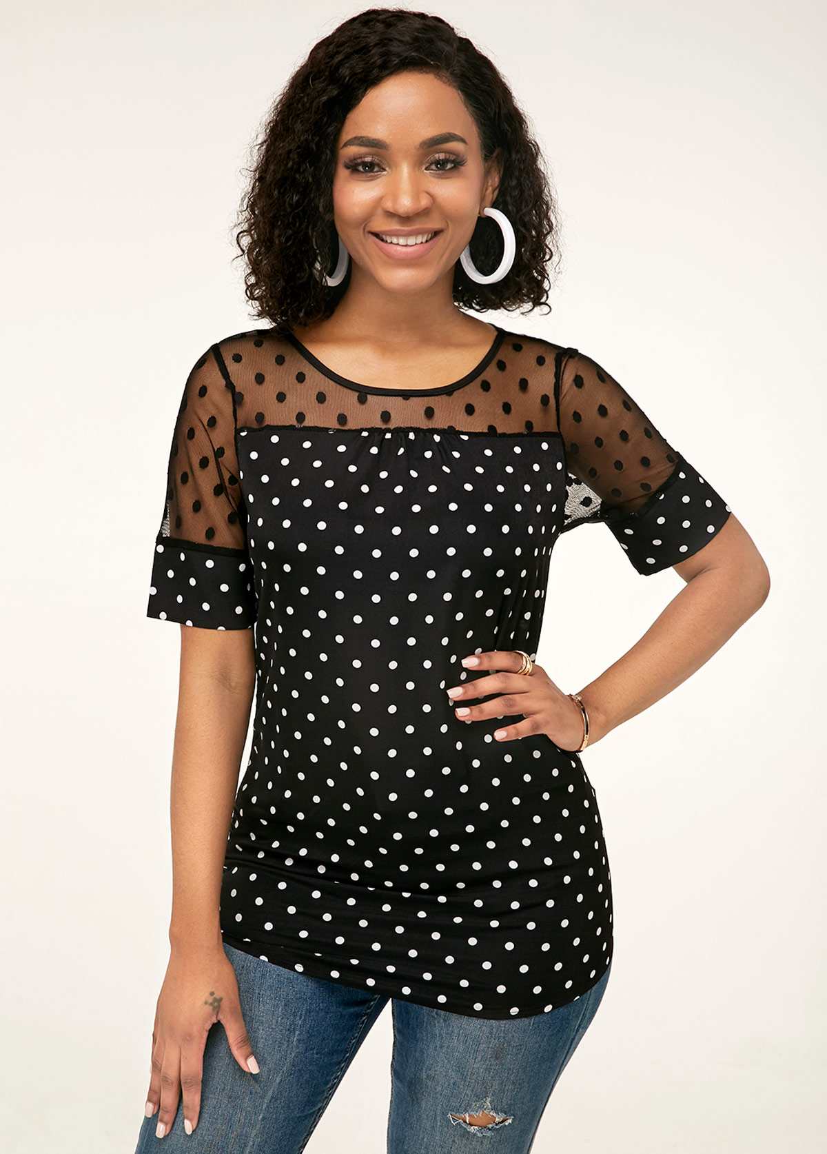 Short Sleeve Polka Dot Lace Patchwork Blouse