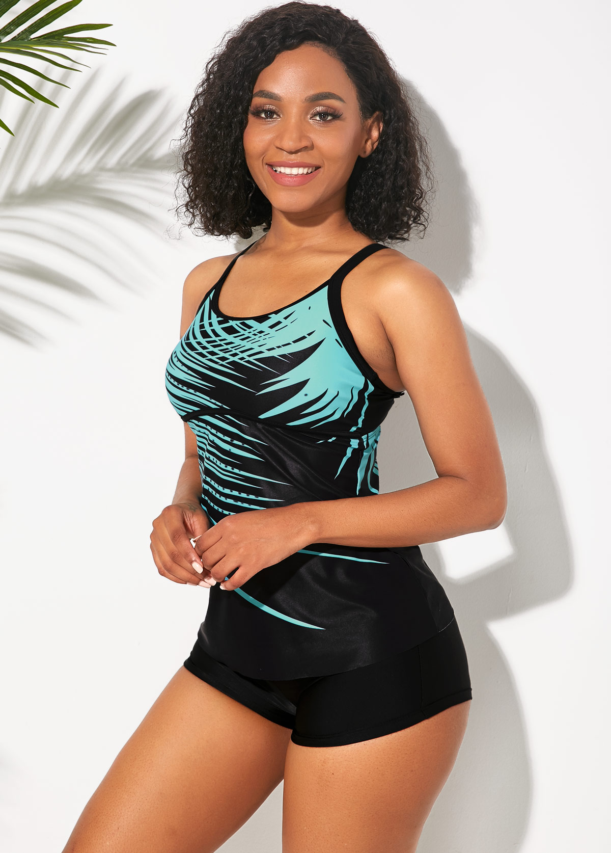 Cyan Palm Leaf Print Tankini Set
