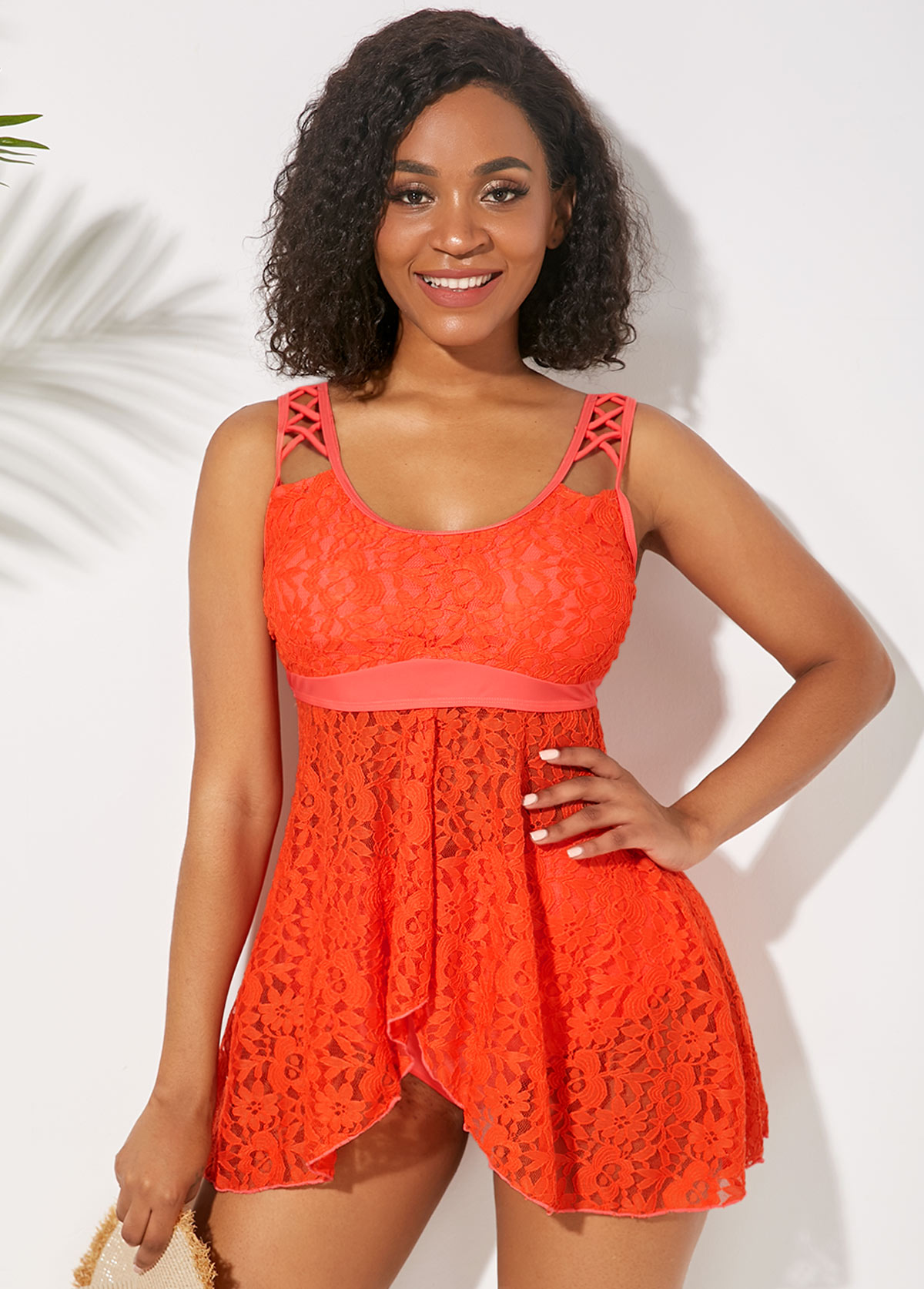 Asymmetric Hem Orange Lace Panel Lingerie Swimdress and Panty