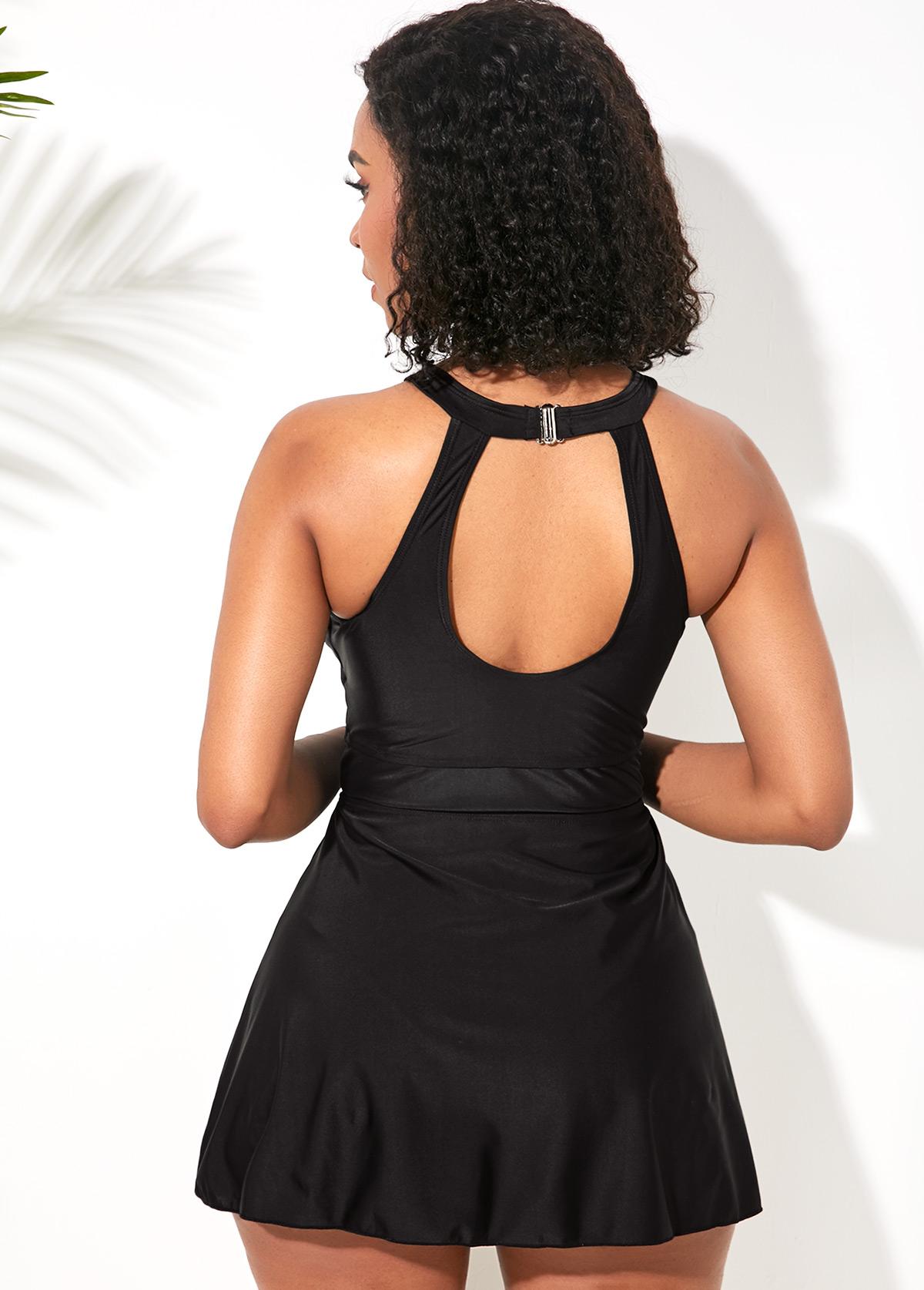 Black Keyhole Neckline Keyhole Back Swimdress and Shorts