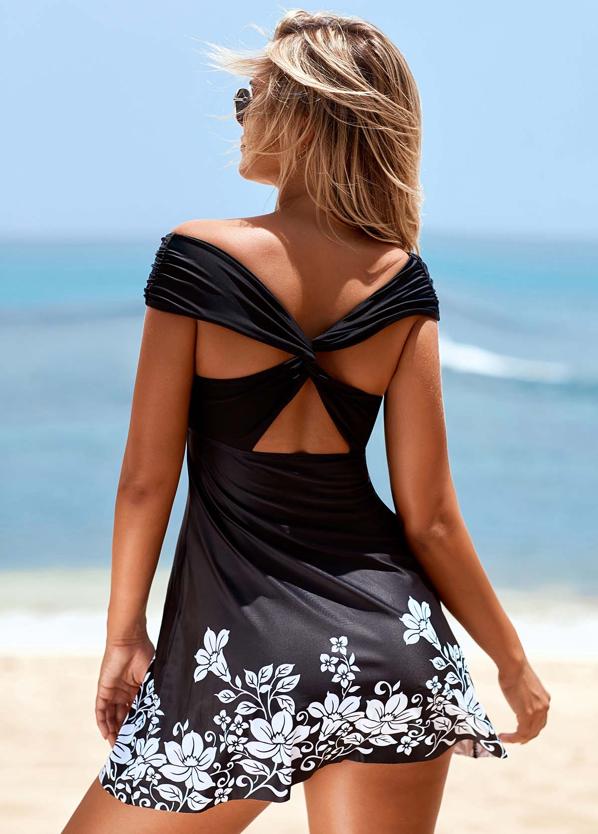 Flower Print Off the Shoulder Cross Strap Swimdress and Panty