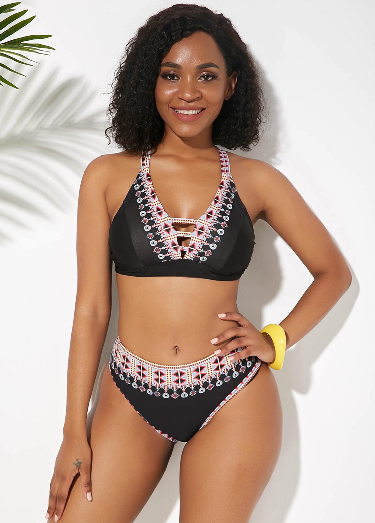 Cross Strap Tribal Print Bikini Set