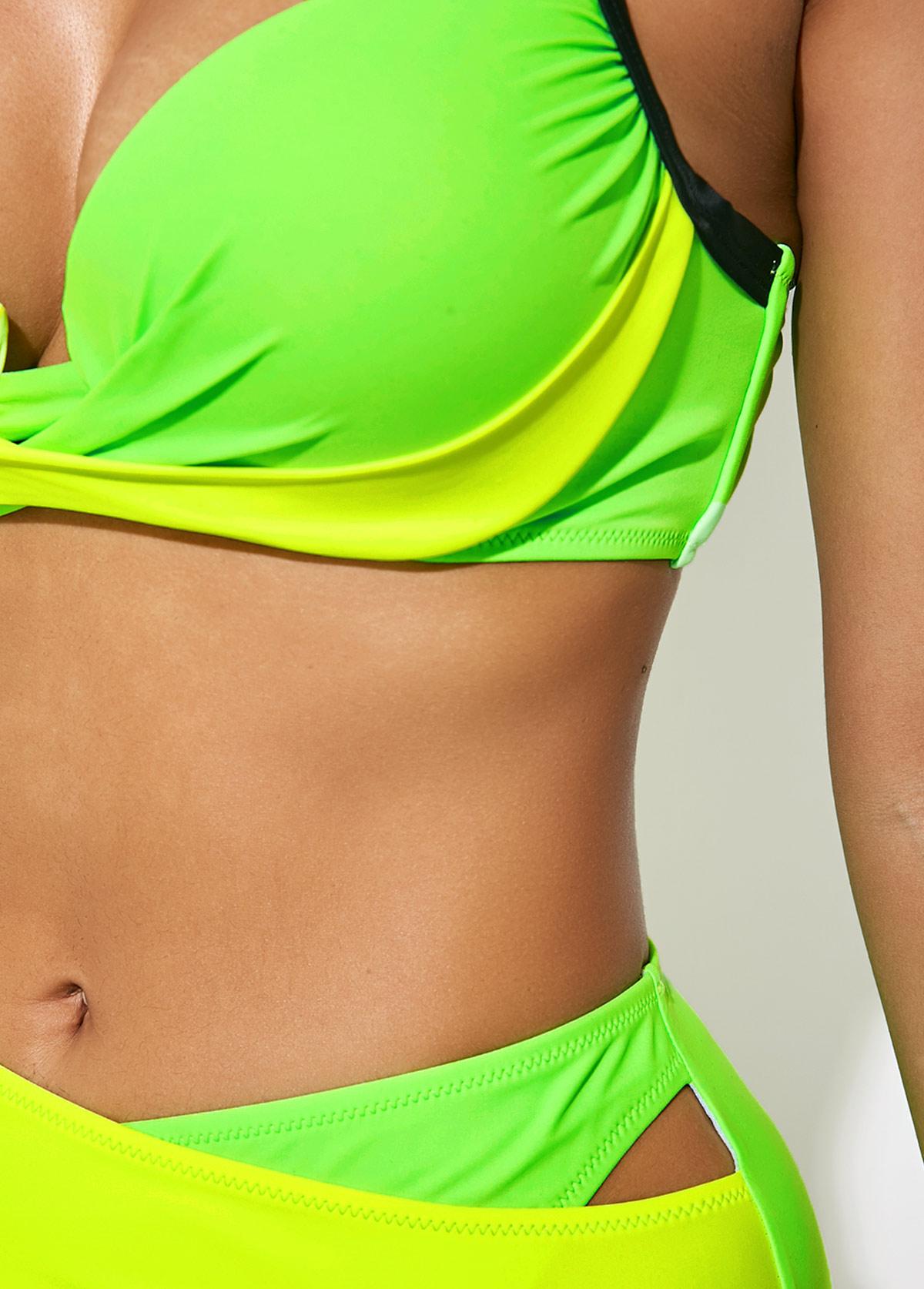 Color Block Mid Waist Wide Strap Bikini Set