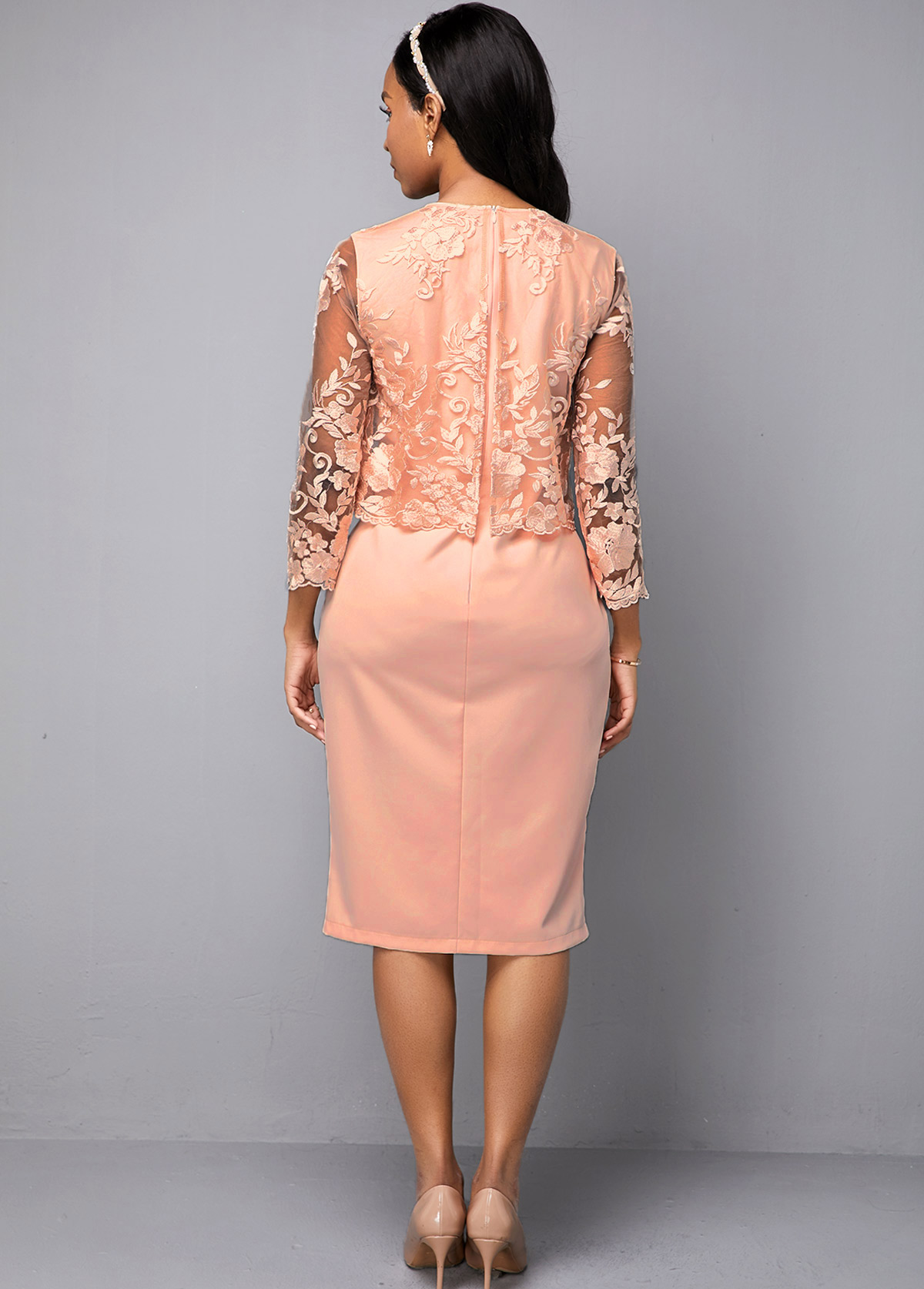 Pink Lace Panel Three Quarter Sleeve Dress