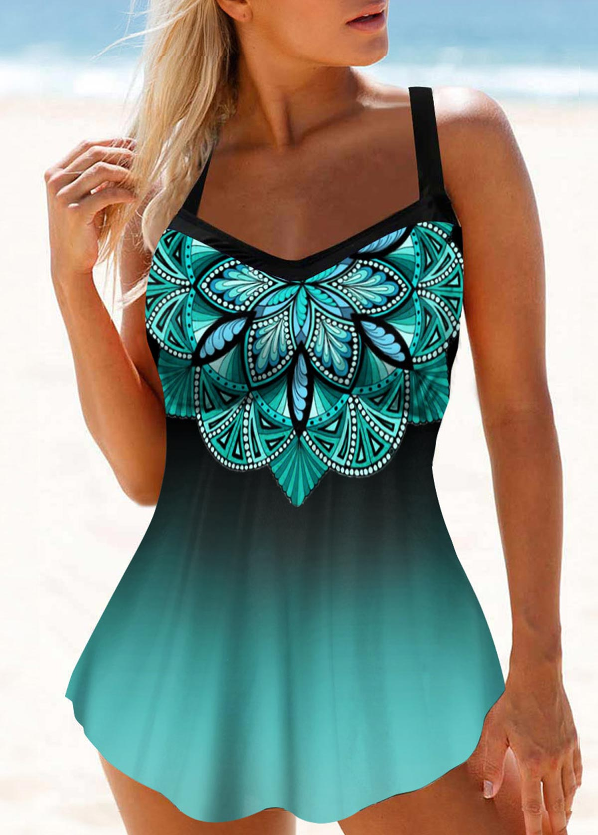 Straps Hollow Back Printed Swimdress and Panty