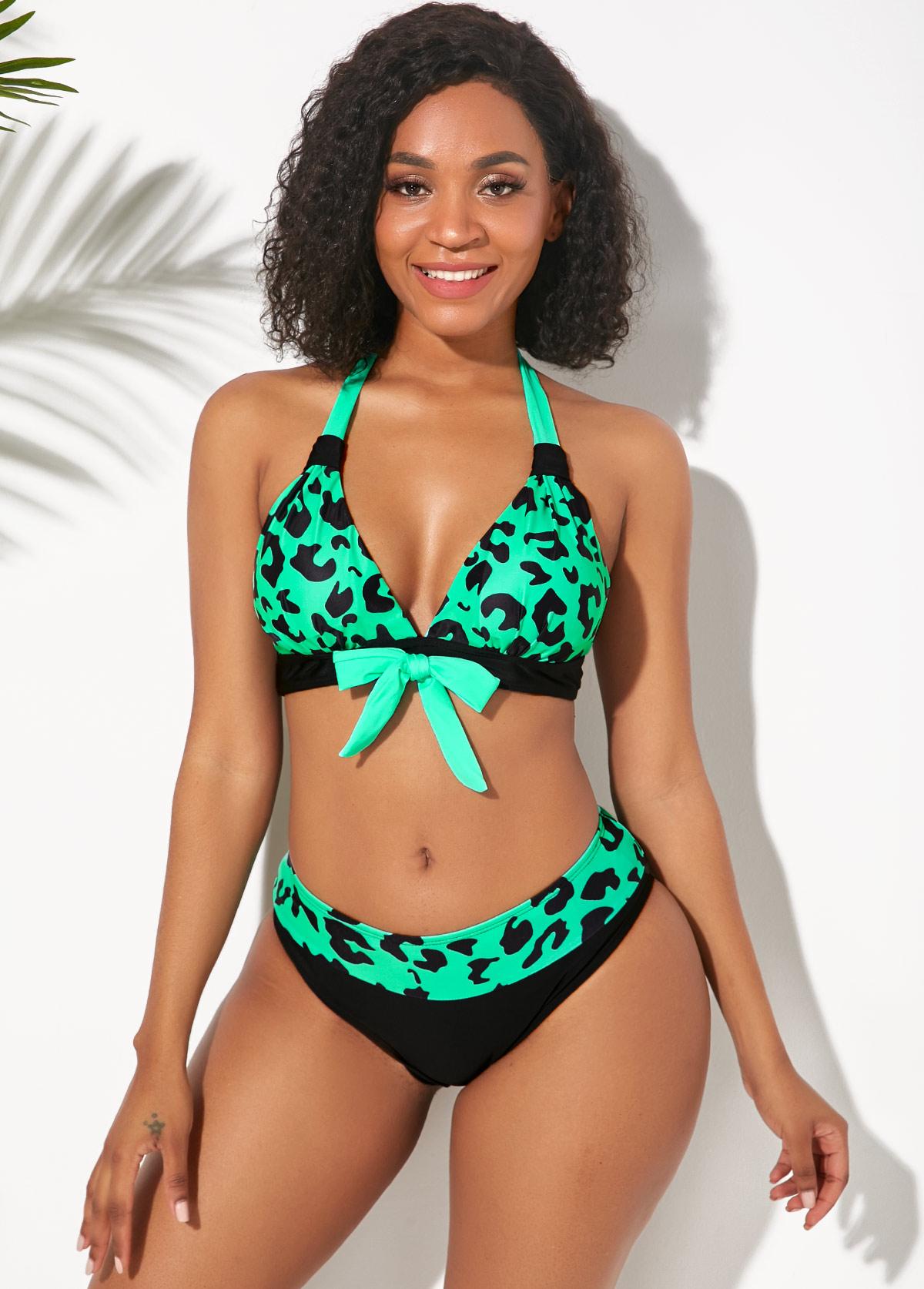 Leopard Print Bowknot Detail Halter Bikini Set