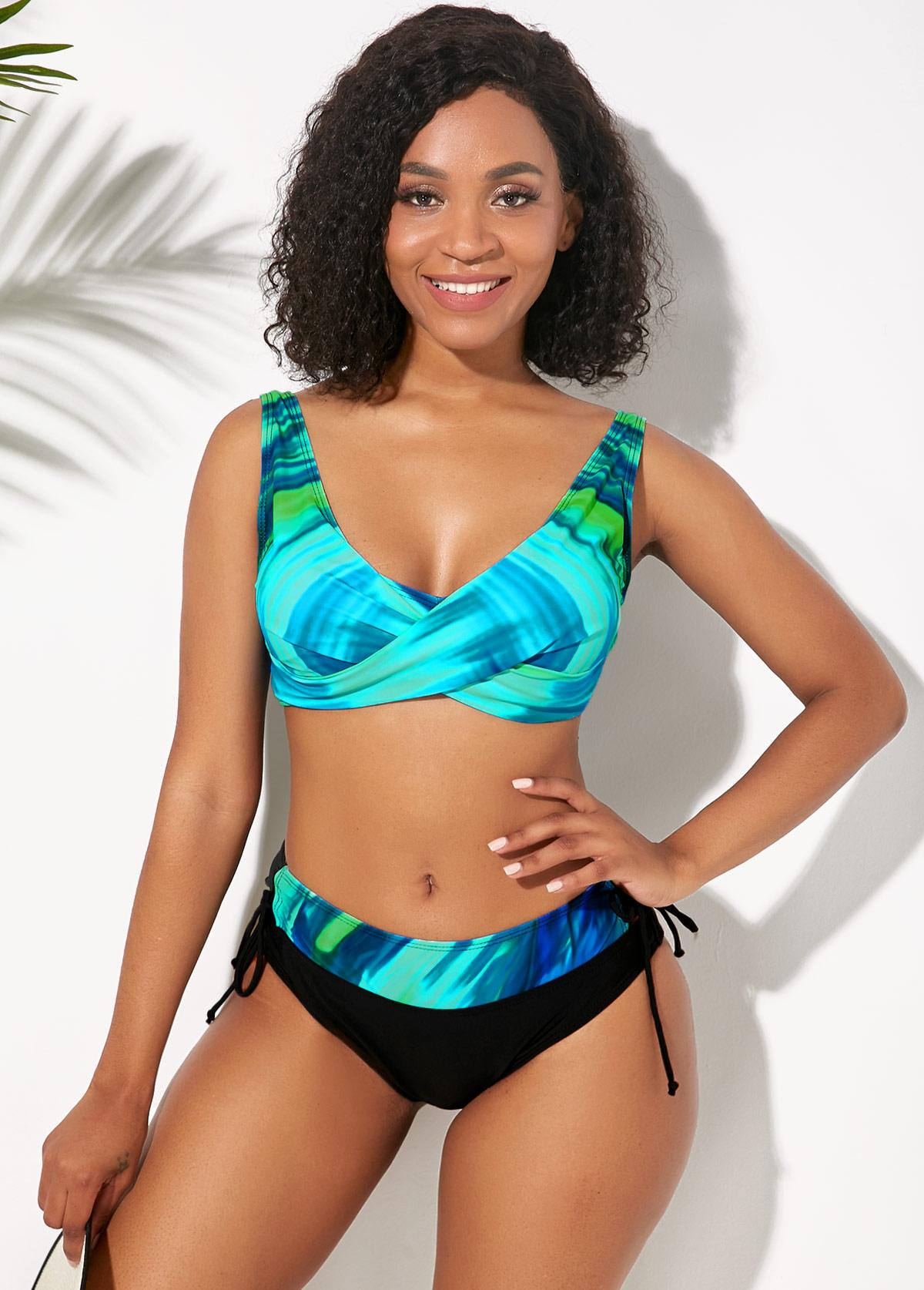 Lace Up Side Wide Strap Printed Bikini Set