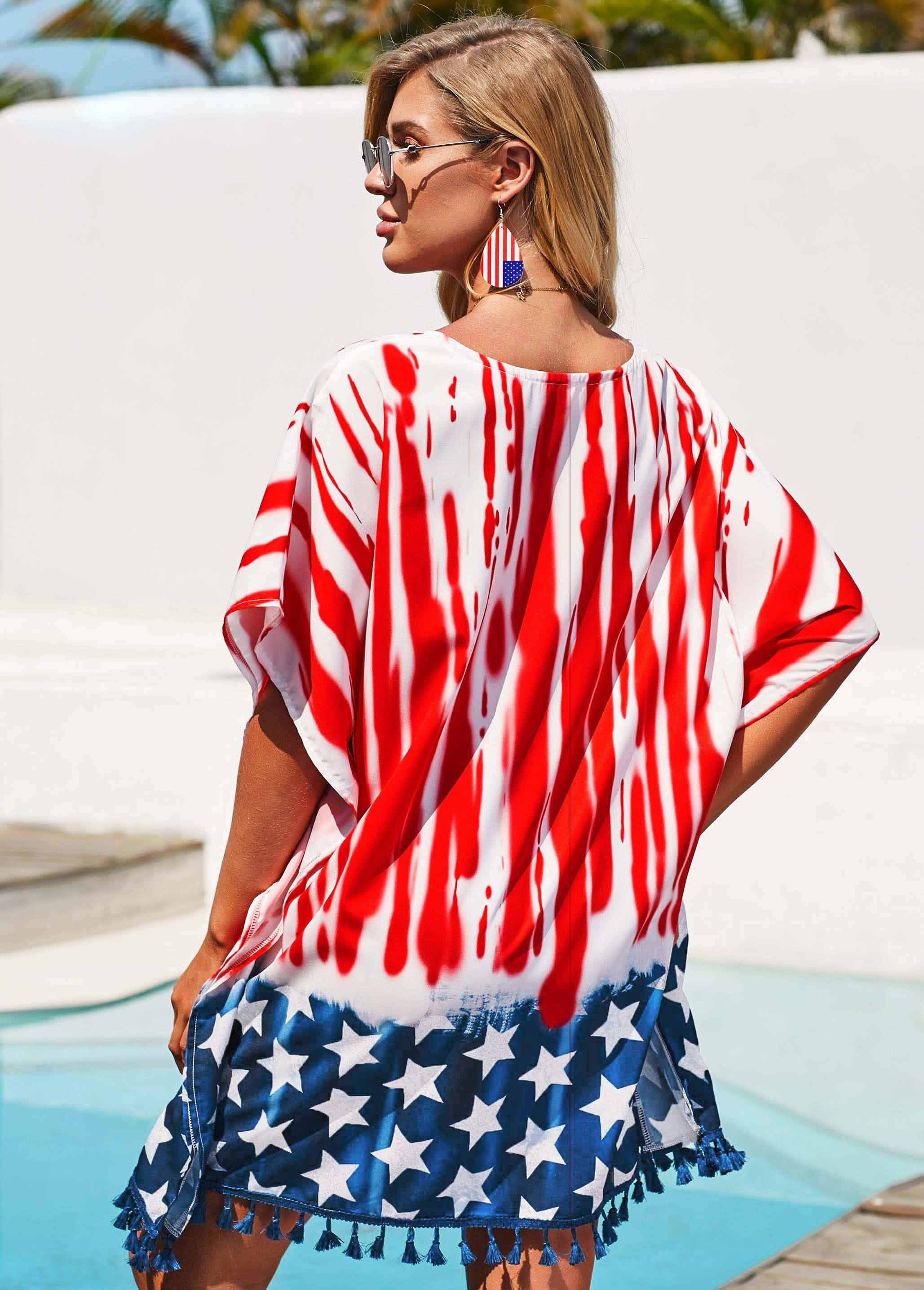 American Flag Print Bowknot Detail Red Cover Up