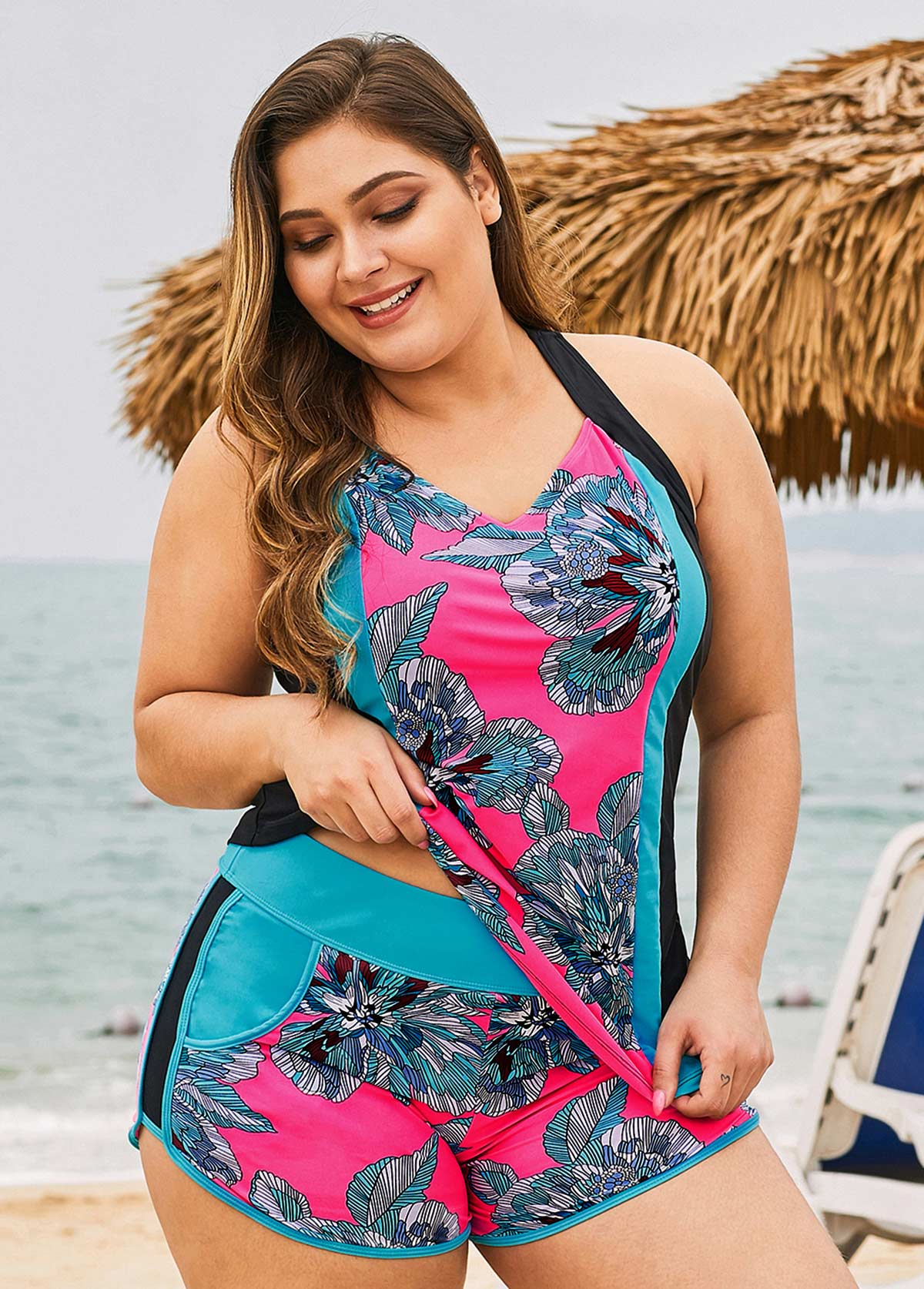 Printed Multi Color Plus Size Tankini Set